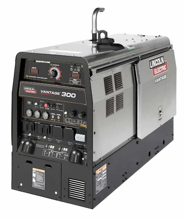 Lincoln Electric, The Vantage® 300 is an ideal choice for construction teams, pipe rig owners and rental fleet managers. Housed in a compact, corrosion resistant stainless steel case, this rugged welder/generator features Lincoln ® Chopper Technology® to deliver great arc starts and a smooth arc for stick, TIG or wire welding. The quiet, smooth-running 1800 rpm water-cooled 4-cylinder Kubota® diesel engine generates 12,500 watts of peak 3-Phase or 11,500 watts of peak 1-Phase auxiliary…