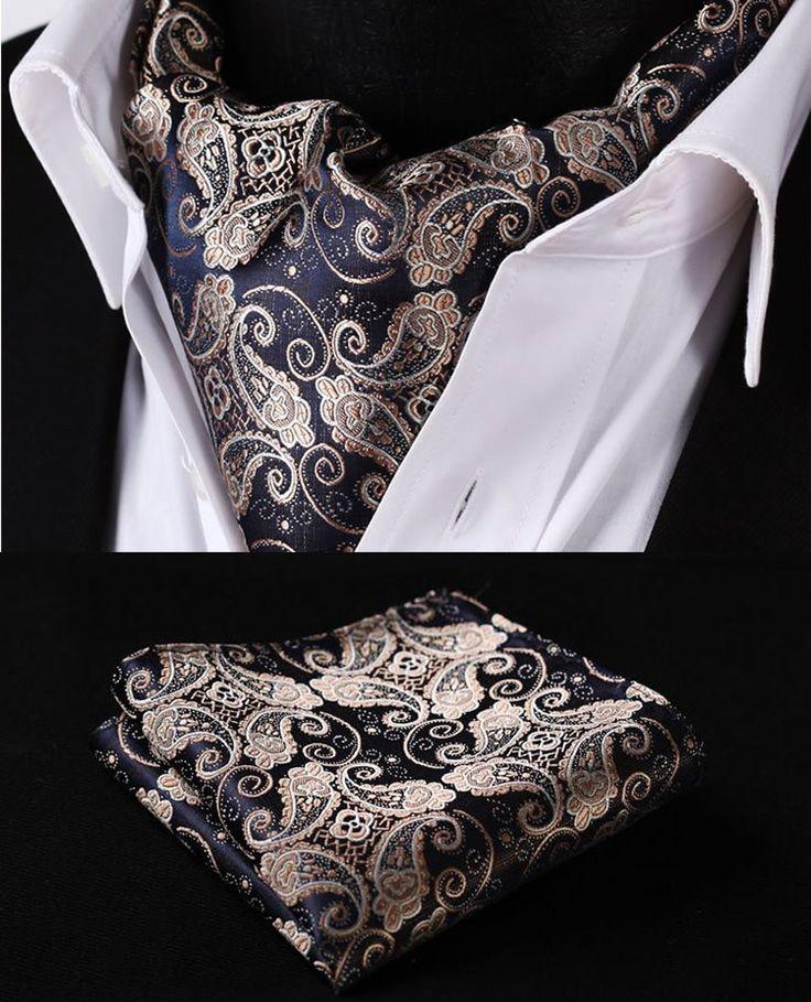 Ascot Tie Pocket Square Handkerchief Suit Set