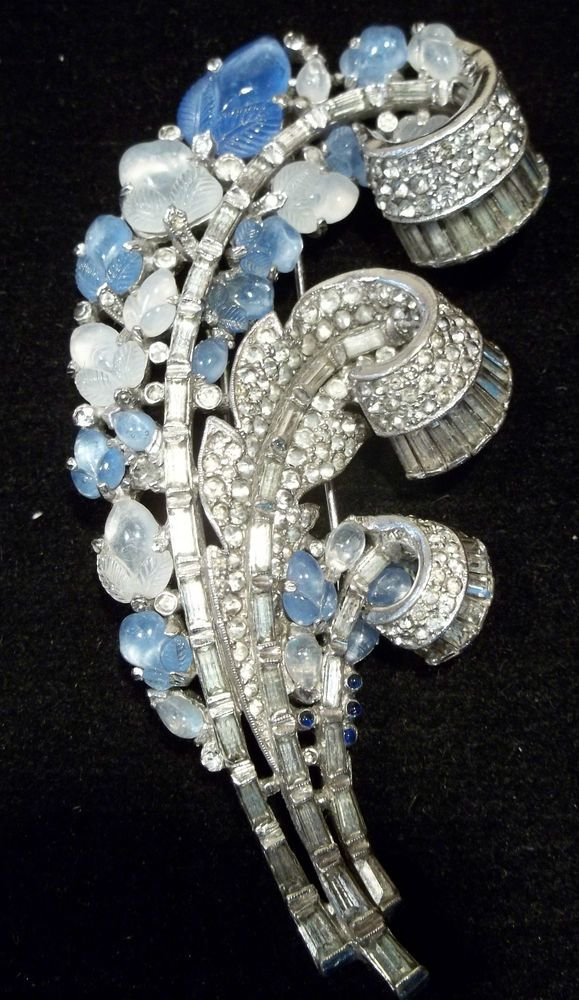 Unsigned vintage rhinestone brooches