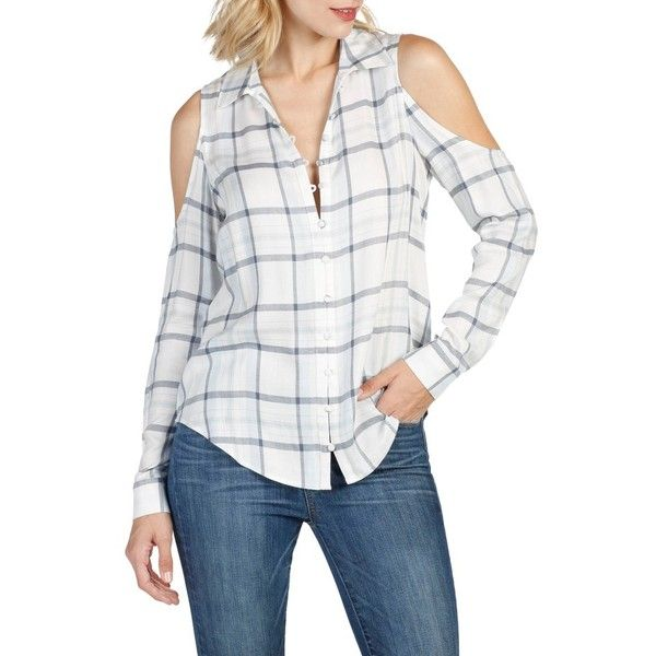 Women's Paige Bellini Cold Shoulder Shirt ($169) ❤ liked on Polyvore featuring tops, plaid button-down shirts, plaid top, white shirt, white open shoulder top and open shoulder top