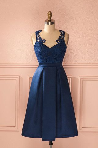 Robe bleue marine, robe de cocktail