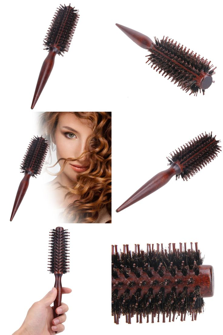 [Visit to Buy] Roll Round Hair Brush Comb Brush Hair Care Tool Wood Handle Natural Bristle Curly Hair Brush Fluffy Comb Hairdressing Barber Too #Advertisement