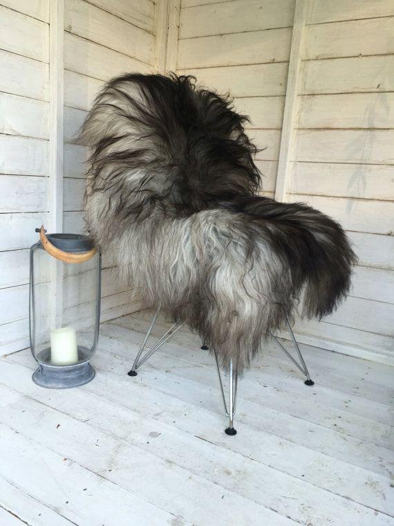 Grey Sheepskin Natural Gray Icelandic Long Soft Fur Sheepskin Rug Hide #62 by Swedishdalahorse #TrendingEtsy
