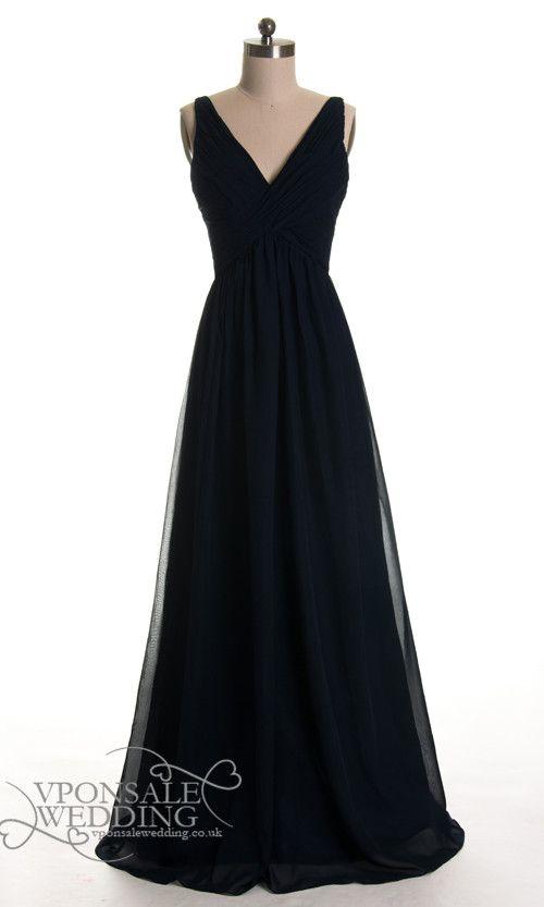 Long Black Low V-neck Bridesmaid Dresses DVW0127 | VPonsale Wedding Custom Dresses