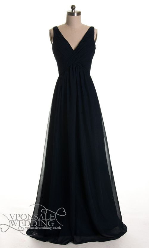 Long Black Low V-neck Bridesmaid Dresses DVW0127 | VPonsale Wedding Custom Dresses