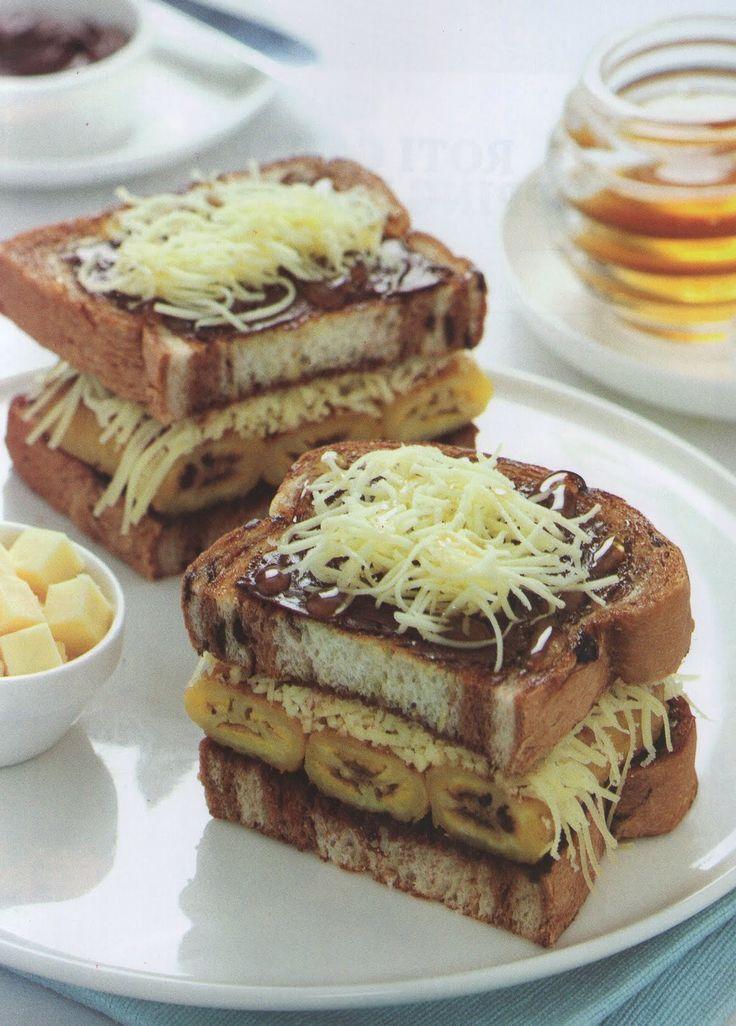 Roti Bakar Pisang Madu Kraft | Mau ganti madu dengan susu kental manis...