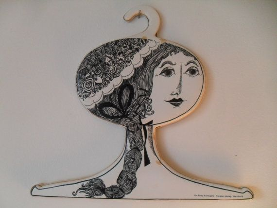 Vintage Ladies Head Face Clothing Hanger Victorian Retro Girl