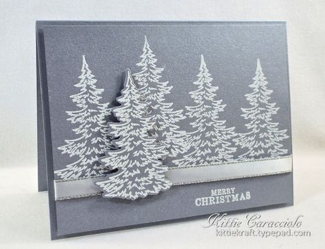 I created a clean and simple holiday card with the white embossed trees on brushed silver cardstock. This would be a great card to mass produce for the holidays. Sadly the photo just doesn't show how pretty and elegant this card is. The brushed silver paper is so pretty. You can see more details on my blog post at [url=http://www.kittiekraft.com/2016/09/brushed-silver-snowy-trees.html]Kittie Kraft[/url].