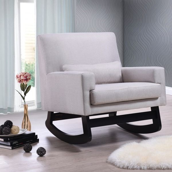Imperium Wood And Fabric Contemporary Rocking Chair with Pillow in Light Beige - Overstock Shopping - Great Deals on Baxton Studio Living Room Chairs