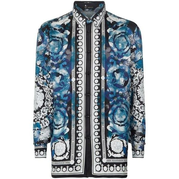 Versace Watercolour Baroque Silk Shirt (£799) ❤ liked on Polyvore featuring men's fashion, men's clothing, men's shirts, men's casual shirts, mens floral shirts, mens silk shirt, mens french cuff shirts, flower print mens shirt and mens baroque shirt