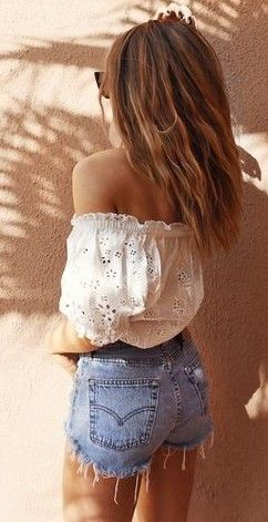White Eyelet Top + Cutoffs                                                                             Source