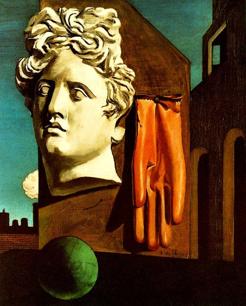 Giorgio de Chirico, The Song of Love.  Giorgio de Chirico (1888 - 1978) |  Metaphysical Art | The Song of Love - 1914  Magritte: the ascendancy of poetry over painting.