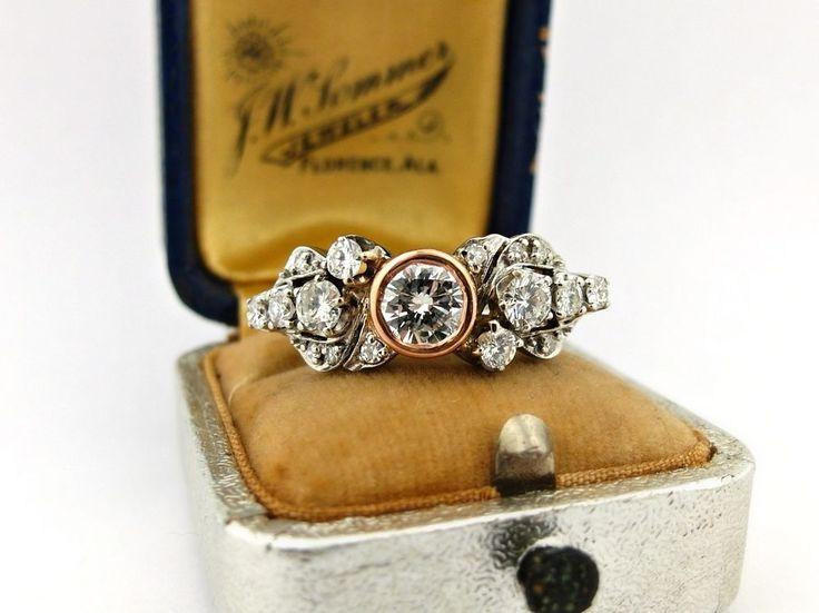 Vintage Art Deco 1.85tw Diamond Upcycled Ring 14k White Rose Gold Eternity Band #Eternity