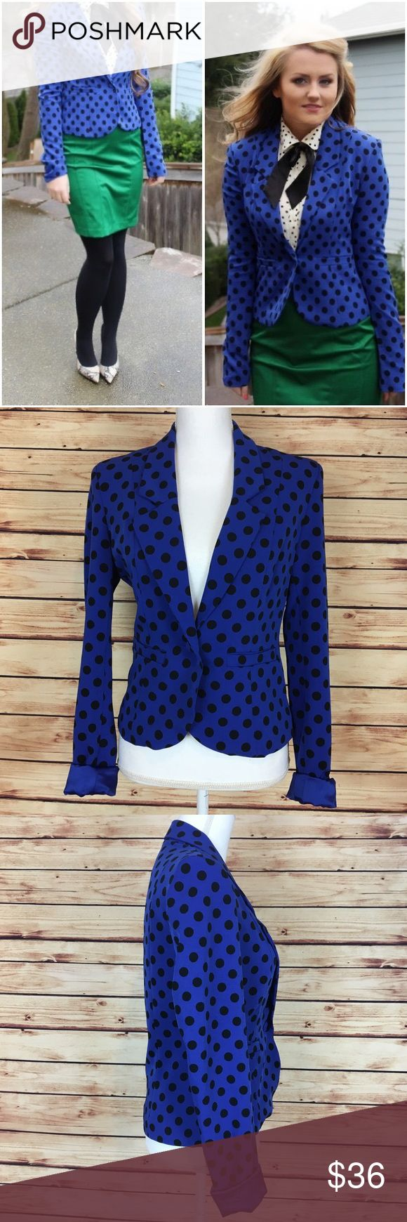 """NWOT Kardashian Kollection Blue Polka Dot Blazer Kardashian Kollection blazer. Blue with black polka dots. Long sleeve. Collared. Pockets, still sealed. One button closure. XS.  New with tags and no flaws.  Measurements are approximately: 35"""" bust, 31"""" waist, and 21.5"""" length.  96% polyester 4% elastane. Polyester lining.  No trades. All items come from a pet friendly home. Bundle to save! Kardashian Kollection Jackets & Coats Blazers"""
