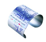 $37 Milan Metro Stainless Steel Cuff. Milan Metro Cuffs feature M1, M2, and M3 lines of Milano Metropolitana aka Milan's subway. Stops are embossed in blue onto the surface of this matte finish stainless steel bracelet.