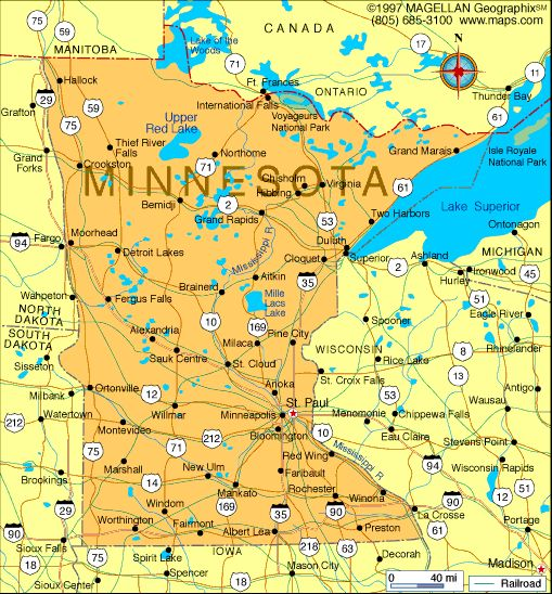 "My home state...Minnesota! ""Land of 10,000 Lakes"" (though we really have many more than 10,000!) It's the 12th largest state. Our State Motto is:  ""L'Etoile du Nord"" - The Star of the North. Our State Nickname: The Gopher State. The word Minnesota is from a Dakota Sioux Indian word that means ""cloudy water"" or ""sky water"" and refers to our many rivers. Our State Flower is the beautiful Showy Lady's Slipper orchid."