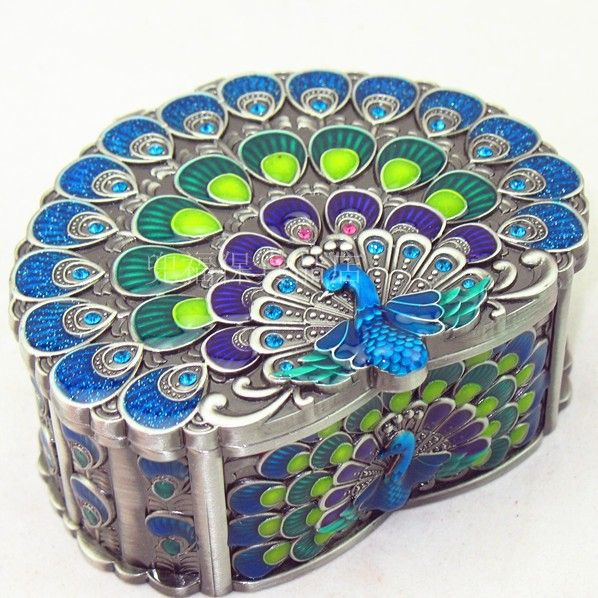 Free shipping! Tin jewelry box cosmetic box peacock love shaped diamond gift on Aliexpress.com | Alibaba Group