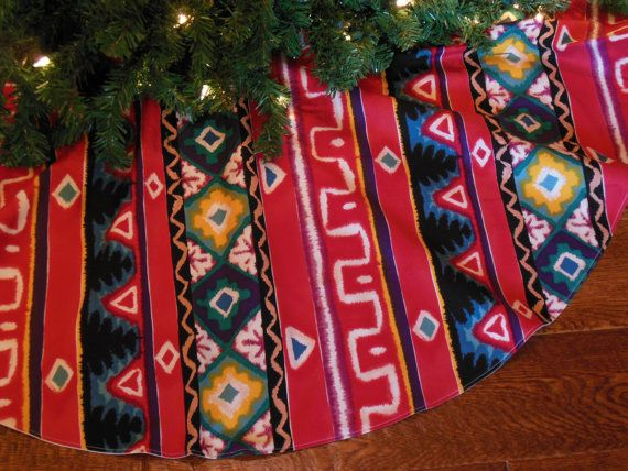 Southwest Christmas Tree Skirt Ikat Print Tree by KaysGeneralStore