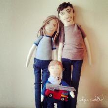 Personalised handmade fabric  dolls, Family dolls, embroidery, art dolls