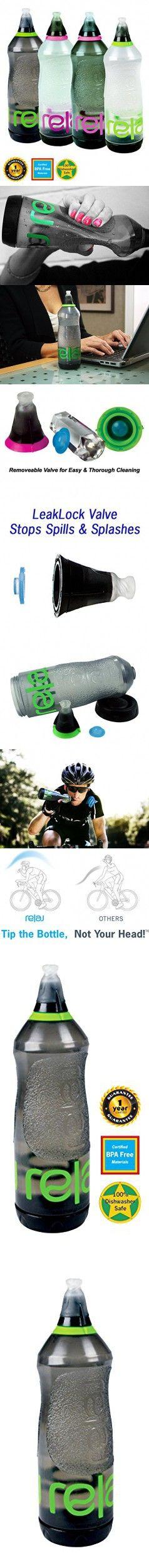Relaj Shape BPA Free Spill Proof Water Bottle, Smoke / Neon Green Trim