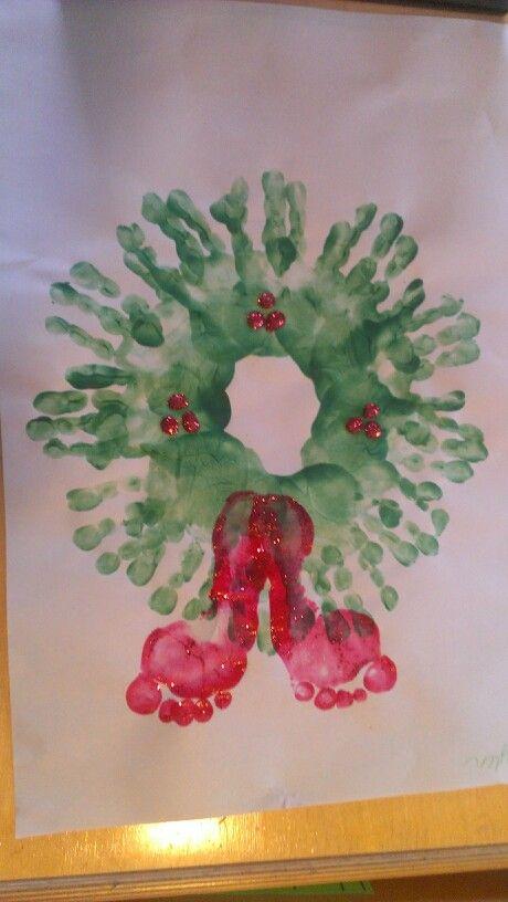 Handprint wreath with footprint bow