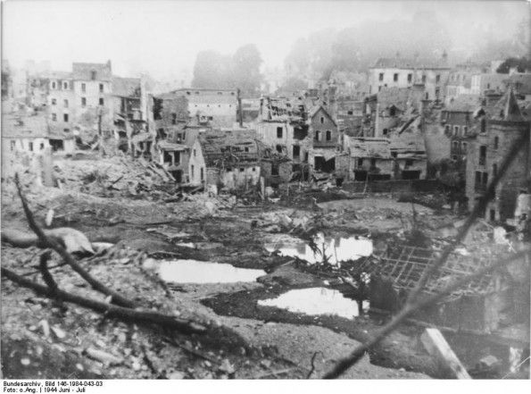 JUL 19 1944 Last stand of the Wehrmacht in St Lo A German photograph of the devastation in St Lo, taken in June or early July 1944.