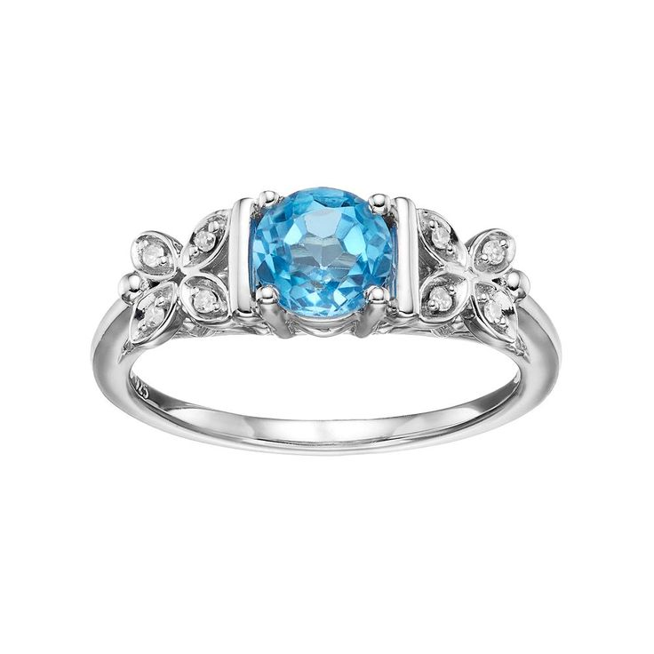 Love Is Forever Sterling Silver Blue Topaz & Diamond Accent Flower Ring, Women's, Size: 7