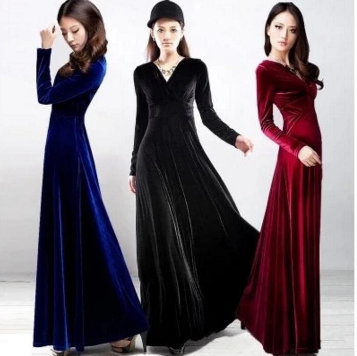 Womens Long Sleeve Maxi Dress Velvet Slim Deep V- Neck Costume Cocktail Skirt