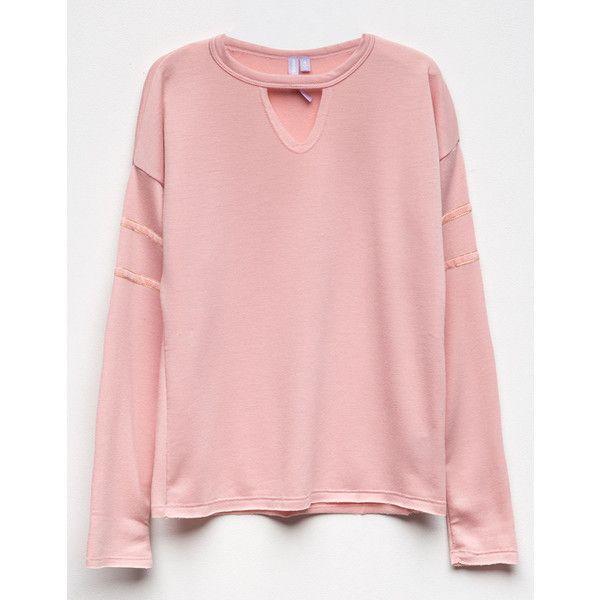 Good Luck Girl Velvet Trim Girls Choker Sweatshirt ($22) ❤ liked on Polyvore featuring tops, hoodies, sweatshirts, long tops, sweater pullover, velvet sweatshirt, pink sweatshirts and pink velvet top