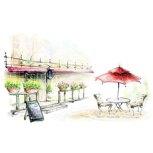 drawing cafe outdoor drawings sketches illustration romantic discover
