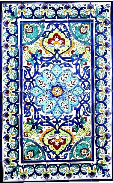 DECORATIVE CERAMIC TILES: mosaic panel hand painted kitchen bath patio home wall mural art 48in x 30in