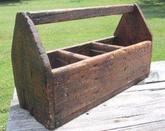 Primitive Antique Wooden Tool Tote Vintage Carpenters Caddy Garden Rustic Wooden Box Industrial Decor