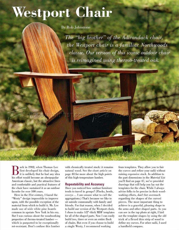 #2436 Westport Chair Plans   Outdoor Furniture Plans Part 80