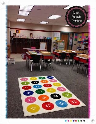 Ikea-style classroom makeover: check out this adorable button rug from Ikea!