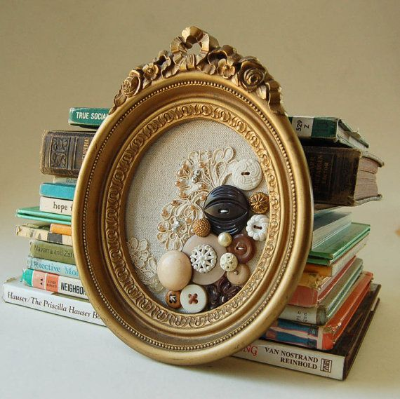 Framed Button and Lace Textile Art Collage by PeachParlor