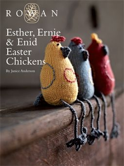 Esther, Ernie & Enid Easter Chickens  Rowan FreeKnitting Pattern. Knit these fabulous, funky toy chicks, a free pattern download originally from the Organic Cotton kids Collection. Designed by Janice Anderson, re-worked in bright shades of Baby Merino Silk DK (wool and silk) and re-named. This design is knitted mostly in stocking stitch, a perfect Easter knit gift for little ones. This knitting pattern is for the intermediate knitter.