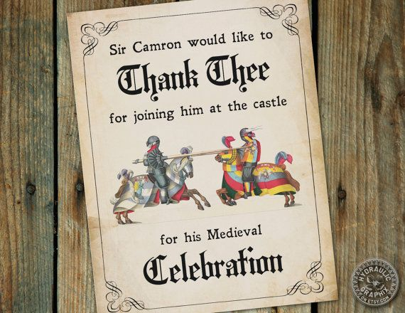 Medieval Times Renaissance themed Thank you by HydraulicGraphix – Medieval Birthday Invitations