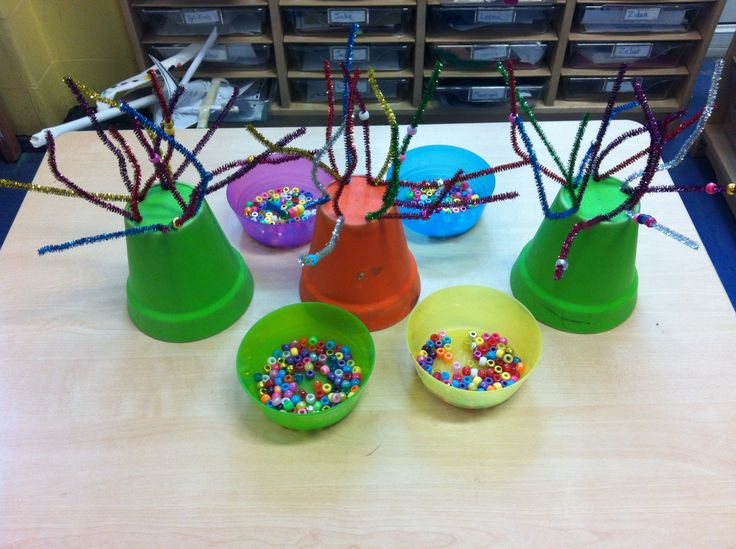 Pipe cleaner flower pot trees and pony beads fine motor skills activity.