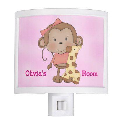 Kid's Night Lite Cute Baby Girl Monkey - customizable