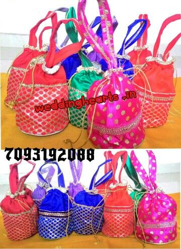 Potli bags/Tambulya bags. Code: WH P 001.Best for return gifts.MOQ 25.Price 100Rs each.