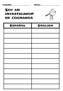 Included are two sheets; one in English and one in Spanish. These sheets may be used in a variety of ways from whole group to centers to aid in the recording of found or focused cognates. See our website https://superbilingues.weebly.com for different ideas on how to use these sheets.