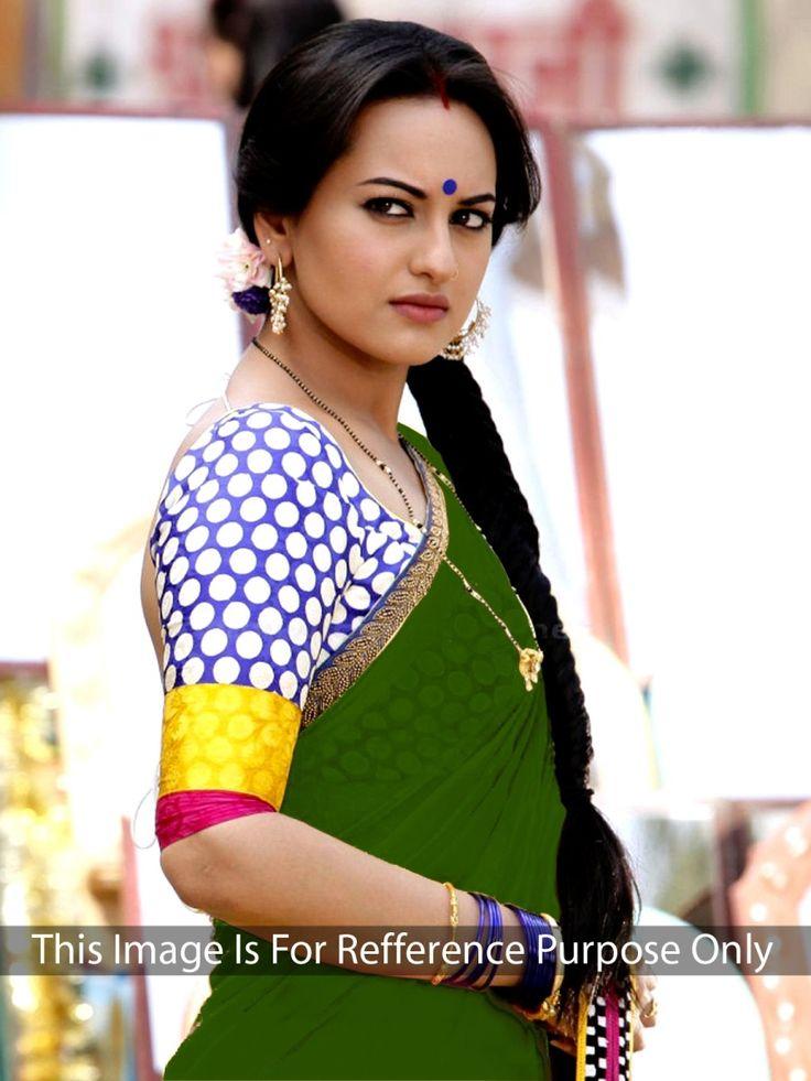 Sonakshi Sinha Chiffon Lace Work Plain Green Bollywood Designer Saree - Fd60