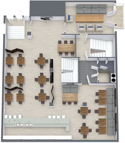 The Aerial View Floor Plan For The Coffee Shop & Wine Bar