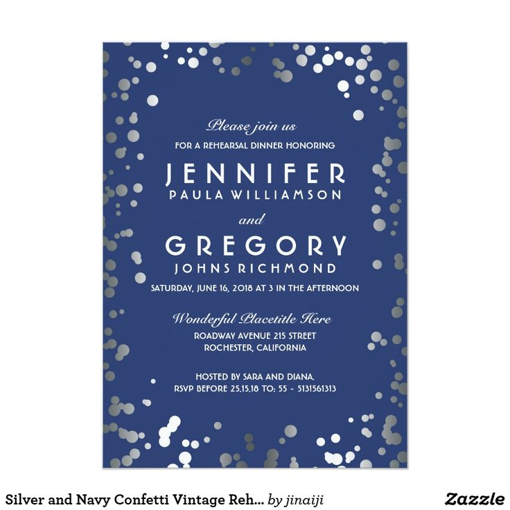 Silver and Navy Confetti Vintage Rehearsal Dinner