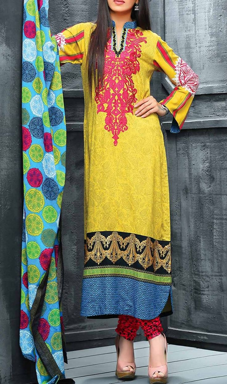 Yellow Embroidered Linen Dress Contact: (702) 751-3523  Email: info@pakrobe.com  Skype: PakRobe
