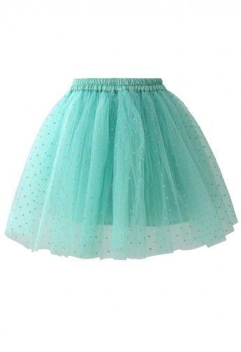 fluffy mint tulle skirt