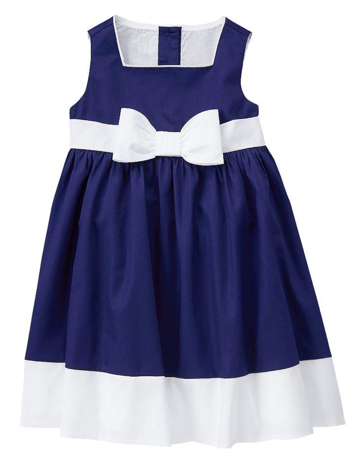 Gymboree Toddler Girl Navy Blue Poplin Dress Gymboree