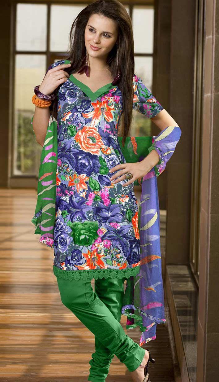 Select Online Fashionable Indian Designer Blue Cotton #PrintedChuridarKameez   #Price INR- 2224 Link- http://alturl.com/3xns6
