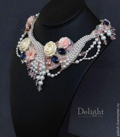 """Купить Колье """"The love"""" - кремовый, колье невесте, свадебное украшение, Ожерелье из камней, из жемчуга"""
