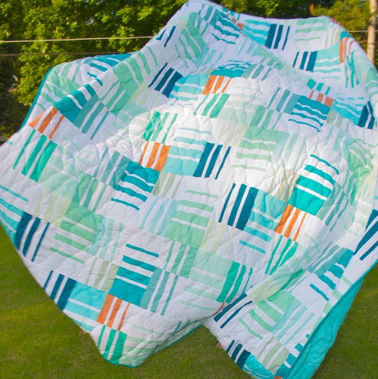 Queen Quilt - Full Quilt - Patchwork, Handmade, Modern, Mediterranean, Ocean, Beach, Tropical - Stripes, Solid by PBJQuiltSandwiches on Etsy https://www.etsy.com/listing/100721331/queen-quilt-full-quilt-patchwork